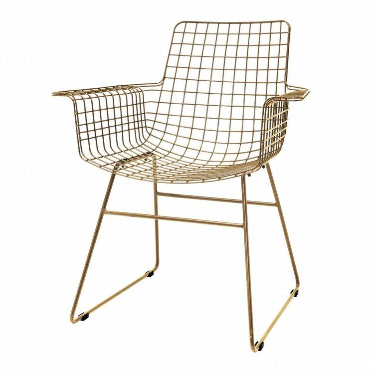 HKliving HKliving Draadstoel met armleuningen metaal messing Set van 2