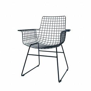 HKliving Draadstoelen Armleuning Metaal zwart Set van 2