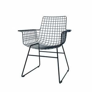 HKliving Wire Chairs with arms metal black Set of 2