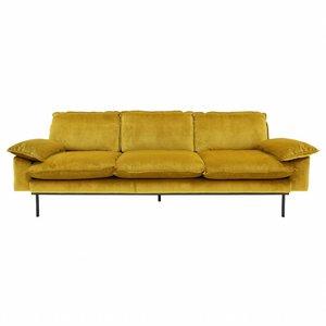 HKliving retro sofa 3 seater, velvet, ochre