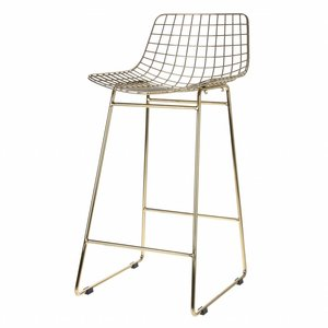HKliving Bar stool wire steel brass or silver
