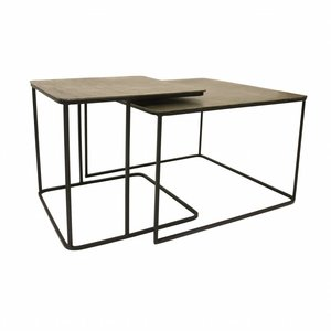 HKliving Coffee table set of 2 metal/brass
