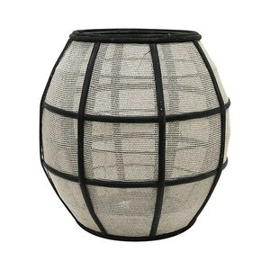 HKliving Laterne Kugel Bambus schwarz Textil natur 29,5x29,5x30,5cm