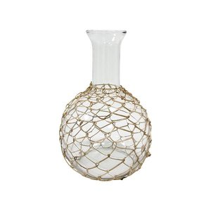 HKliving Karaf glas met naturel vlechtwerk 19x19x27,5cm