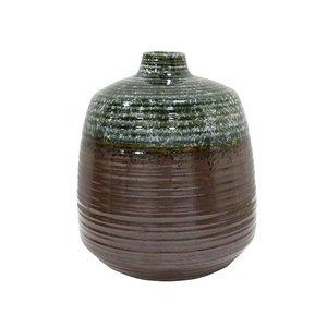 HKliving Vaas handgemaakt keramiek groen bruin 16x16x19,4cm