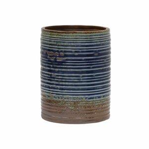 HKliving Blumentopf handgefertigt blau braun Keramik 15,5x15,5x20cm