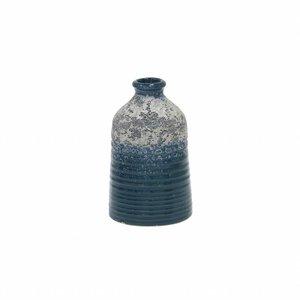 HKliving Vase S handgefertigt Keramik blau 8,2x8,2x12,8cm