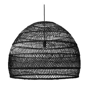 HKliving Wicker hanging lamp round black - 60cm, last 1