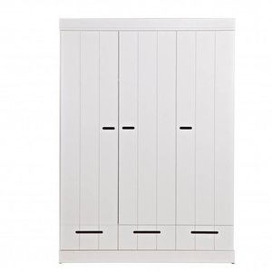 WOOOD Wardrobe Connect Stripes 3 doors and 3 drawers white