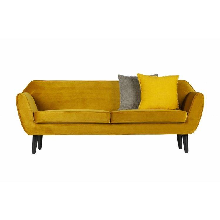 WOOOD WOOOD Sofa Rocco polyester fluweel geel