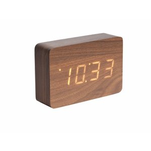 "Karlsson Table Clock / Alarm Clock ""Square"" Brown"