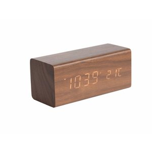 "Karlsson Table Clock / Alarm Clock ""Block"" Brown"