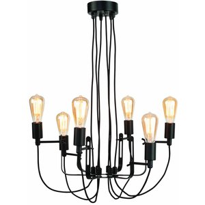 It's about Romi Chandelier Seattle 6-arm textile thread iron black