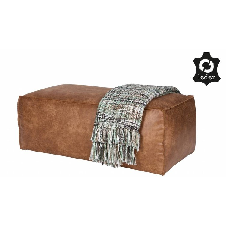 BePureHome BePureHome Pouf Rodeo recycle leather cognac brown