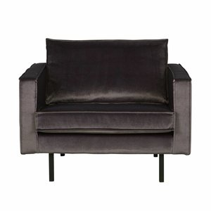 BePureHome Fauteuil Rodeo velvet anthracite gray