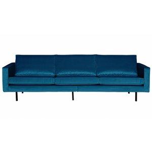 BePureHome Bank 3-zits Rodeo fluweel blauw