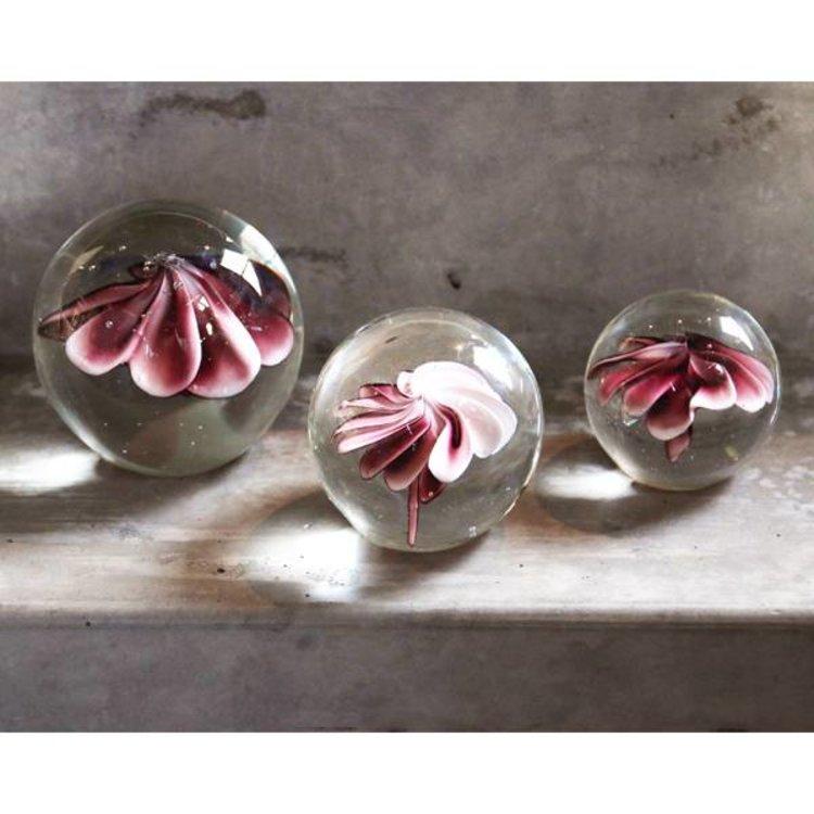 HKliving HKliving Glazen bal met bloem roze L