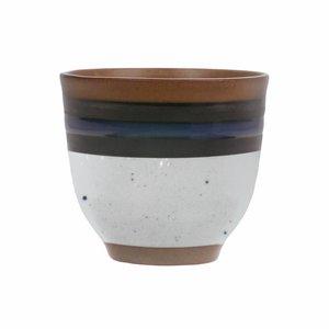 HKliving Becher Kyoto blau gestreift Keramik