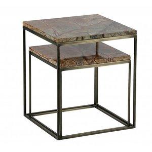 BePureHome Mellow Beistelltische Set bestehend aus zwei Marmor antiken Messing Kupfer
