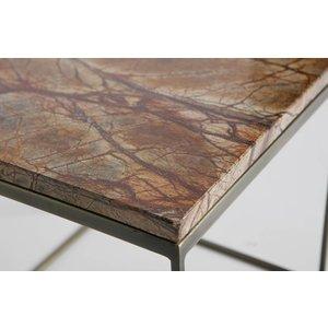 BePureHome BePureHome Mellow Beistelltische Set bestehend aus zwei Marmor antiken Messing Kupfer