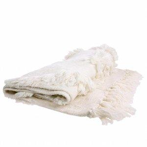 HKliving Bedspread Fringes white 125x150cm