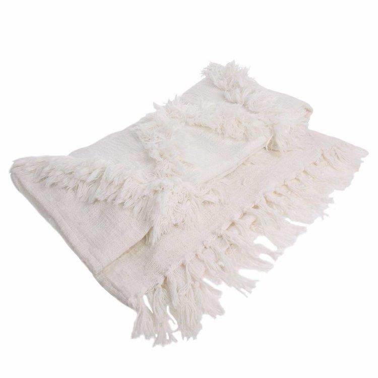 HKliving HKLiving Bedspread Fringes white 125x150cm