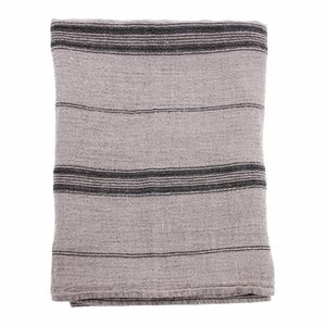 HKliving Tablecloth Linen Striped black grey