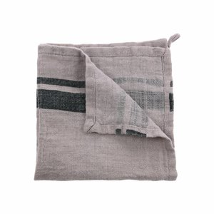 HKliving Napkin Linen Striped black gray Set of 2