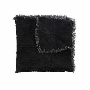 HKliving linen napkin charcoal fringes set of 2 (45x45)