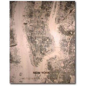 Muurdecoratie Van Hout.Wanddecoratie Citymap New York Houten Wandpaneel Houten