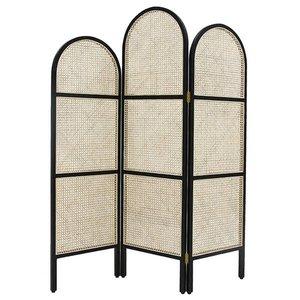 HKliving Folding screen wood rattan black natural 150x2,5x180cm