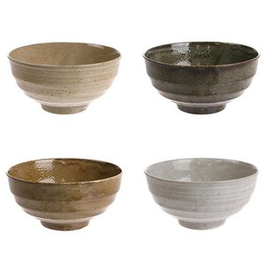 HKliving Noodle Bowl Japanese Ceramics set of 4