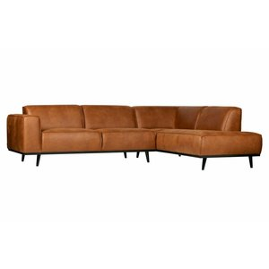 BePureHome Statement Corner Sofa Right Eco Leather Cognac