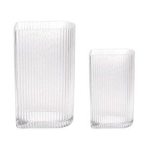 HKliving Vases Ribbed Transparent Set of 2