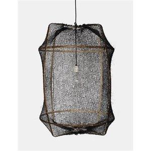 Ay illuminate Hängelampe Z1 brauner Rahmen mit Sisalnet schwarz
