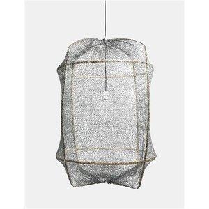 Ay illuminate Hängelampe Z1 brauner Rahmen mit Sisalnet grau