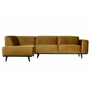 BePureHome Statement Corner Sofa Right Velvet Honey Yellow