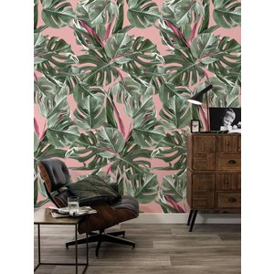 KEK Amsterdam Photo Wallpaper Botanical Monstera pink