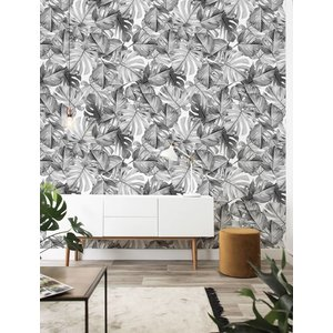 KEK Amsterdam Photo Wallpaper Botanical Monstera black-white