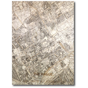 BRANDTHOUT. Wanddecoratie Citymap Den Haag | Houten wandpaneel