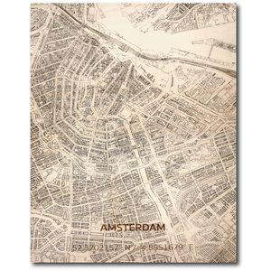 BRANDTHOUT. Wanddecoratie Citymap Amsterdam | Houten wandpaneel