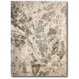 BRANDTHOUT. Wanddecoratie Citymap Utrecht | Houten wandpaneel