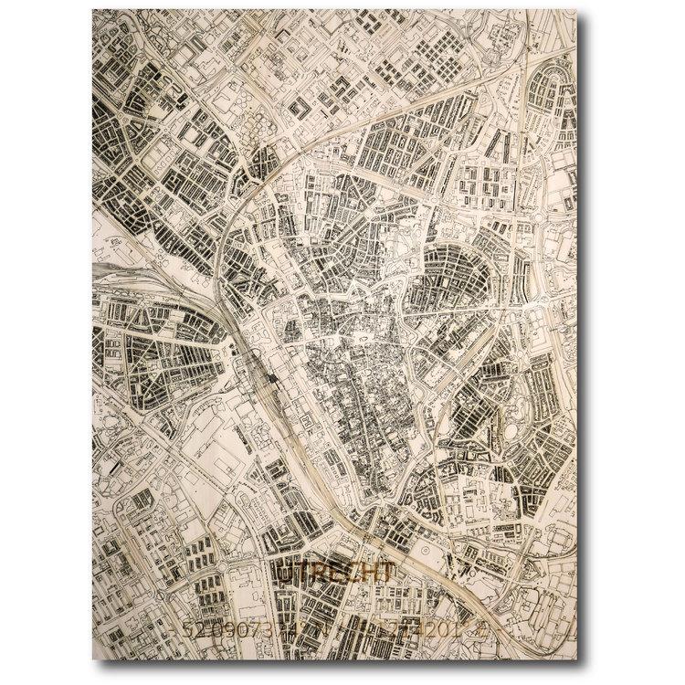 BRANDTHOUT. BRANDTHOUT. Wandbild Stadtplan Utrecht | Wanddekoration Holz