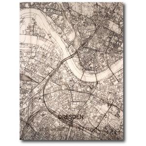 BRANDTHOUT. Wanddecoratie Citymap Dresden | Houten wandpaneel