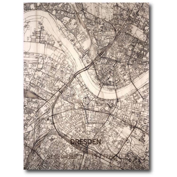 BRANDTHOUT. BRANDTHOUT. Wanddecoratie Citymap Dresden | Houten wandpaneel