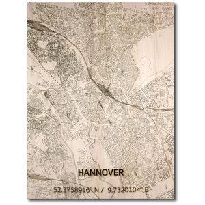 BRANDTHOUT. Wanddecoratie Citymap Hannover | Houten wandpaneel