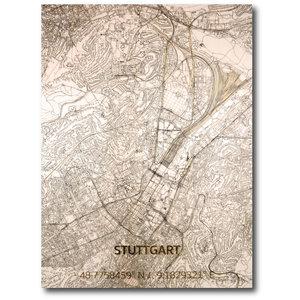 BRANDTHOUT. Wanddecoratie Citymap Stuttgart | Houten wandpaneel