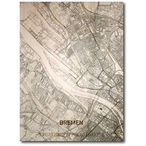 BRANDTHOUT. Wanddecoratie Citymap Bremen | Houten wandpaneel