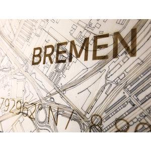 BRANDTHOUT. BRANDTHOUT. Wanddecoratie Citymap Bremen   Houten wandpaneel