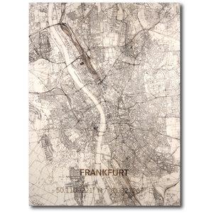 BRANDTHOUT. Wanddecoratie Citymap Frankfurt | Houten wandpaneel